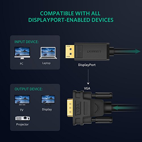 UGREEN 6ft DP to VGA, Gold Plated 1080P DisplayPort to VGA Male to Male Adapter Converter for Lenovo, Dell, HP, ASUS and other DisplayPort enabled Devices (Black) by UGREEN (Image #1)