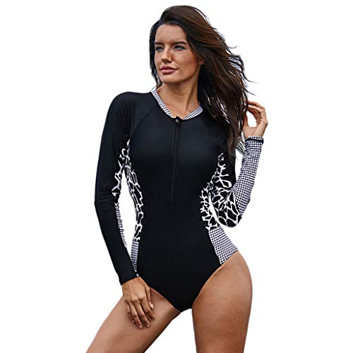 (♛TIANMI Surfing Suit for Women, Long Sleeve Surfing Diving Swimsuit One Piece Beach Bathing Suit(Black,XXL))