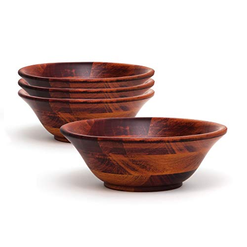 Lipper International 263-4 Flared/Footed Bowls, 7-Inch, Cherry Finish, Pack of 4