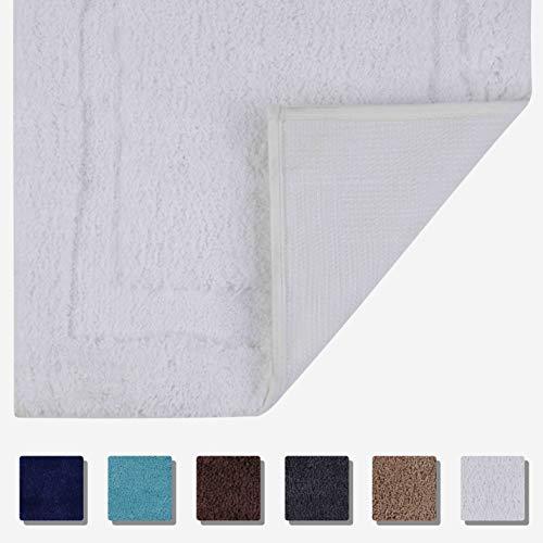 Tomoro Non-Slip Bathroom Rug Super Absorbent Bath Mat Extra Soft Microfibers Anti-Skid TPR Bottom (17.5 x 27 inch, White)