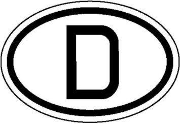 INDIGOS UG - Hinweisschild für Kraftfahrzeuge Internationales Kennzeichen für Deutschland, D Weich-PVC-Folie, selbstklebend, bedruckt Größe 19, 00 cm x 13, 00 cm