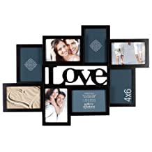 Gallery Solutions 10FW1581 Black 3D Love Collage Frame with 8 Openings