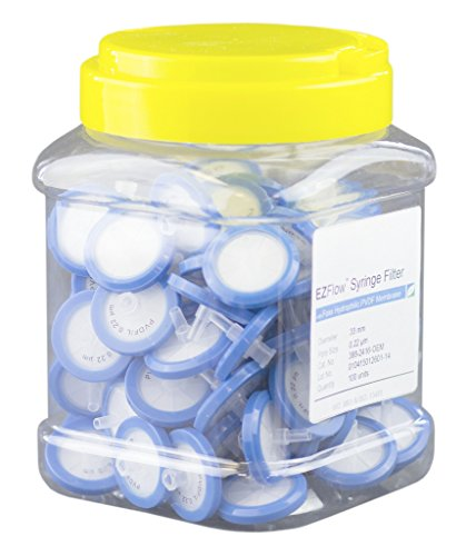 EZFlow Non-Sterile Hydrophilic PVDF Syringe Filters, 0.22um Pore Size Membrane for Prefiltration and Sample Prep, 33mm, 100/PK by Foxx Life Sciences