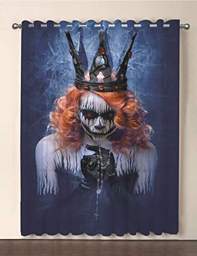 iPrint One Panel Extra Wide Sheer Voile Patio Door Curtain,Queen,Queen of Death Scary Body Art Halloween Evil Face Bizarre Make Up Zombie,Navy Blue Orange Black,for Sliding Doors(108