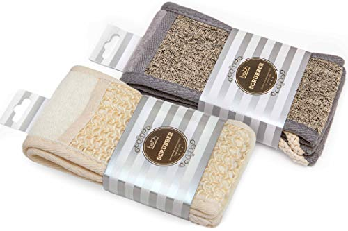 Exfoliating Back Scrubber and Back Scrubber With Cotton Rope Handles and Natural Sisal for Bath Shower Set and Smooth Renew Skin of 2.