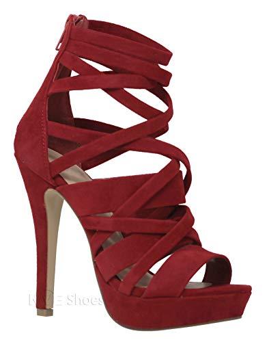 MVE Shoes Women's Strappy Platform Open Toe High Heels, Lip Lami Size 9