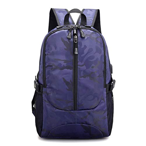 Thenxin Backpack for Men Camouflage Outdoor Travel Hiking Waterproof Daypack with USB Charging Port(Dark Blue,Nylon) (Best Daypack For Photography)