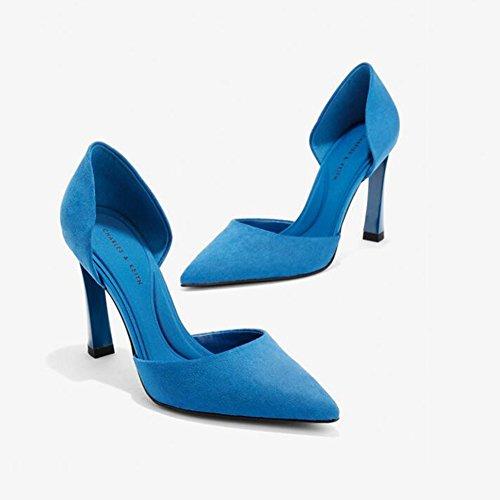 Party Hauts Sunny Rencontres Bouche Chaussures Blue Talons Pointu Femmes Mode pour Peu Robe Profonde xgwxITrq