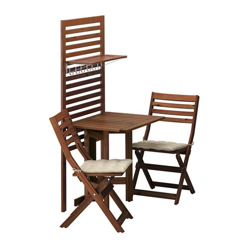Ikea Wall panel, gateleg table & 2chairs, brown stained, Hållö beige 14204.172023.2234
