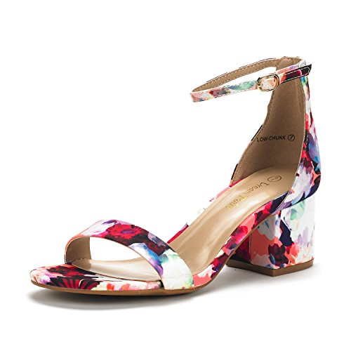 (DREAM PAIRS Women's Low-Chunk Floral Low Heel Pump Sandals - 9 M US)