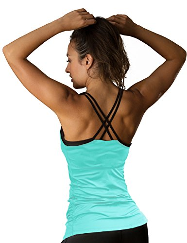 icyzone Women Workout Yoga Spaghetti Strap Racerback Tank Top With Built In Bra (S, Florida - Running Australia Clothes