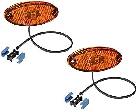 Fkanhängerteile 2 X Aspöck Seitenmarkierungsleuchte Flatpoint 2 Led Gelb 0 5m Kabel 31 2309 027 Auto