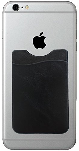 Leather Design cell phone stick on wallet card holder phone pocket for iPhone, Android and all smartphones. (Black)
