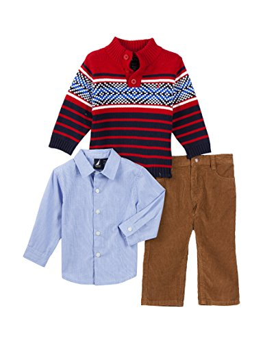 - Nautica Baby Boys' 3 Piece Sweater Corduroy Set (12 Months, Red Rouge)
