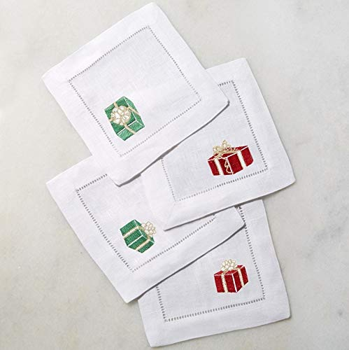 Sferra Gifts Embroidered Cocktail Napkins (6'' x 6'') - Set of 4 (Red/Green)
