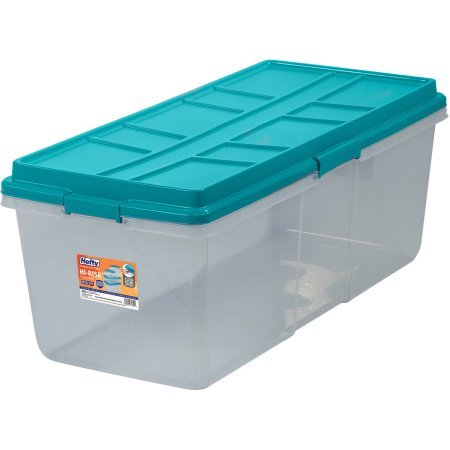 Hefty HI-RISE Storage Bins, 113 Qt. XL Stackable Bin with Latch, Teal/Clear by Generic