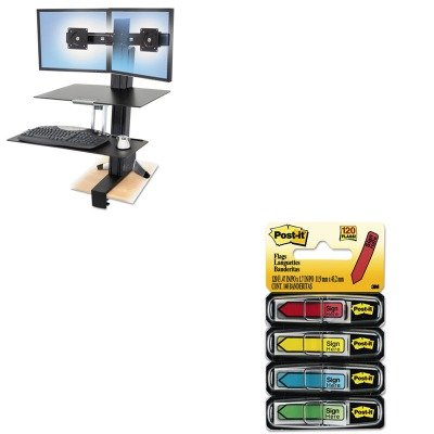 KITERG33349200MMM684SH - Value Kit - Ergotron Inc WorkFit-S Sit-Stand Workstation w/Worksurface (ERG33349200) and Post-it Arrow Message 1/2amp;quot; Flags (MMM684SH)