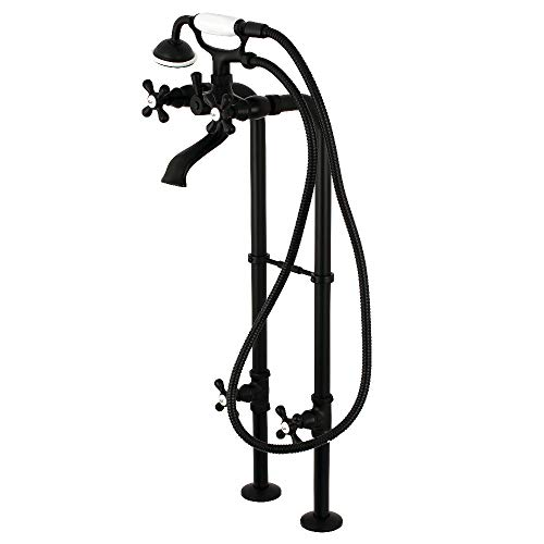- Kingston Brass CCK266K0 Freestanding Tub Faucet with Supply Line, Stop Valve and Handle, 32-5/8 Inch Length, Matte Black