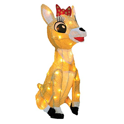 ProductWorks Pre-Lit Rudolph The Red-Nosed Reindeer Clarice Christmas Yard Art Decoration with Clear Lights, 18