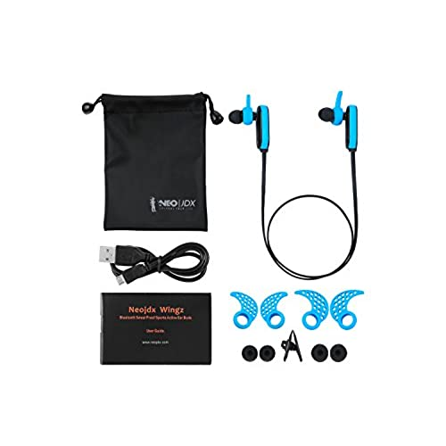 chic Neojdx Wingz Bluetooth Headphones, Best Wireless Sports Earphones w/ Mic IPX5 Waterproof HD Stereo Sweatproof Earbuds for Gym Running Workout 6 Hour Battery Noise Cancelling Headsets - Blue