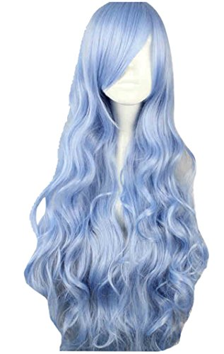 DIDACOS Light Blue Long Curly Full Wavy Curly Yoshino Cosplay Wig (One Size, -