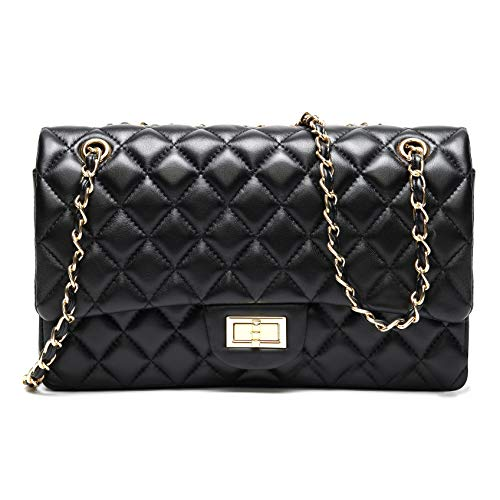 H.May Women's Genuine Soft Leather Quilted Chain Purse Hobo Large Size Shoulder Bag Handbag (Black)