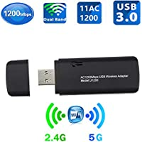 USB WiFi Adapter,AC1200 Wireless Adapter 2.4G/5GHz WiFi Dual Band,USB Types,USB 3.0,Supports Windows 7/8/8.1/10/XP&Mac OS X System,Black