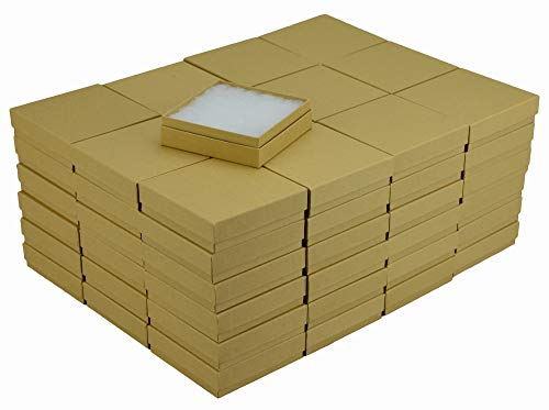 JPB Kraft Cotton Filled Jewelry Box #33 (Case of 100) 3.5 inches x 3.5 inches