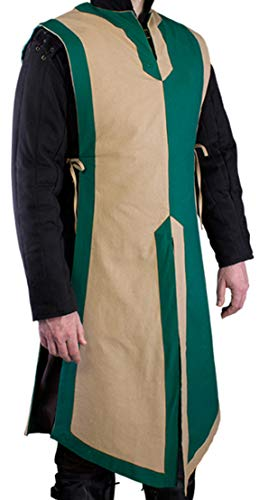 Unisex Medieval Basic Tabard Camel/Green LARP Viking Tunic Sleeveless Cosplay Costume -