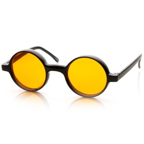 zeroUV - Small Round Circle Lennon Style Color Lens Sunglasses - Round Orange Sunglasses