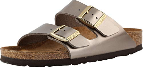 Birkenstock Women's Arizona Birko-Flor Limited Edition Narrow Fit Sandals, Electric Metallic Taupe (ELMETTAU), 40 Birkenstock Arizona Birko Flor Sandal