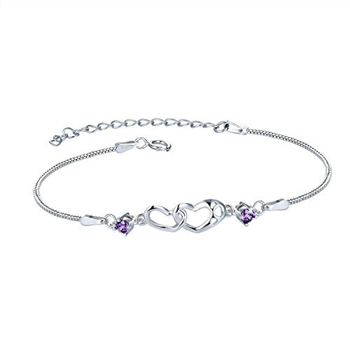 MUATOGIML 925 Sterling Silver Purple Double Heart Infinity Endless Love Bracelet Jewelry For Women Girls, 18'' Box Chain by MUATOGIML