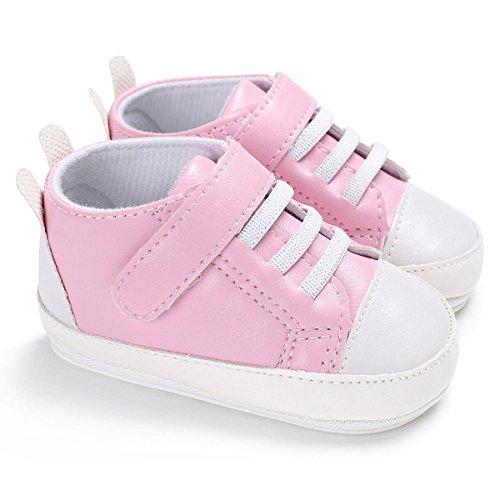 Tutoo Baby Boy Girl PU Leather Sneaker Soft Anti-Slip Sole Prewalkers Newborn Crib Shoes First Walker Shoes (S:4.33 inches(3-6 Months), A-Pink)