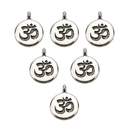 JETEHO 30PCS Om Charms, Yoga Charms Energy Charms Indian Buddha Chakra Pendants for Bracelets Jewelry Making