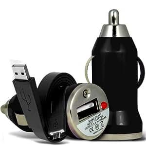 Samsung Galaxy Pocket Neo S55310 rápido Bullet In Cargador USB para coche con luz LED y de carga Super Fast 1 Datos Flat Metro USB Transfiera Sync cable cargador (Negro) Por Spyrox