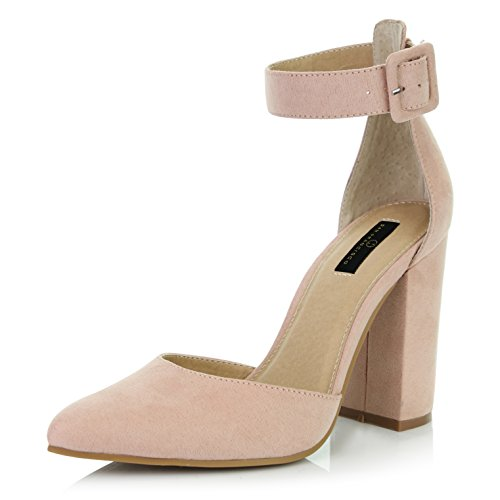 DailyShoes Women's Casual Pointed Toe Chunky Ankle Strap Buckle High Heels Sandals, Nude Suede, 11 B(M) US (Casual Sexy Heel High Shoe)