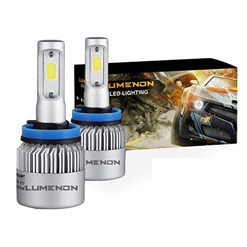 Lumenon LED Headlight Bulbs Conversion Kit 180W 180000LM 6000K Cool White 2 Yr Warranty (H11 H9 H8) (6000k Headlight Bulbs)