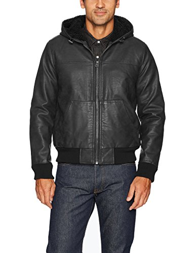 Levi's Men's Buffed Cow Faux Leather Hoody Bomber, Black, Medium by Levi's