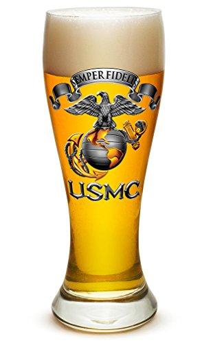 Pilsner – US Marine Corps Gifts for Men or Women – USMC Semper Fidelis Beer Glassware – USMC Barware Glass (23 Oz)