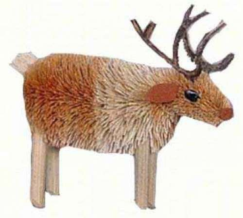 Christmas Tablescape Decor - Buri Brush Reindeer Ornament by Brushart