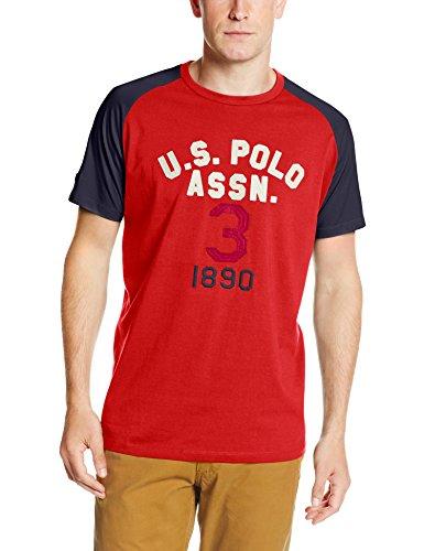 U.S. Polo Assn. Men's Raglan Sleeve Baseball Style T-Shirt, Vintage Red, Large