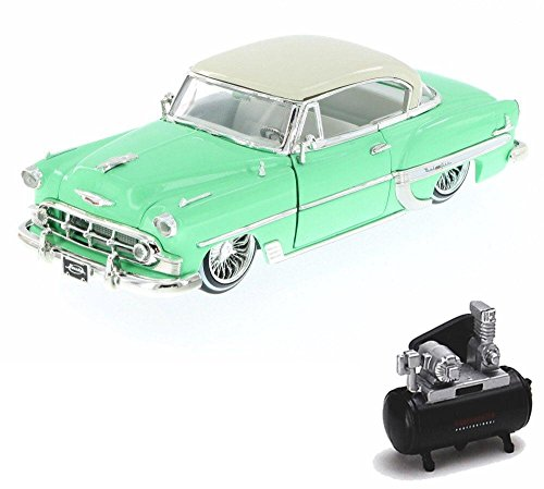 - Diecast Car & Air Compressor Package - 1953 Chevy Bel Air Hard Top Lowrider, Pastel Green - Jada 98918-MJ - 1/24 Scale Diecast Model Toy Car w/Air Compressor