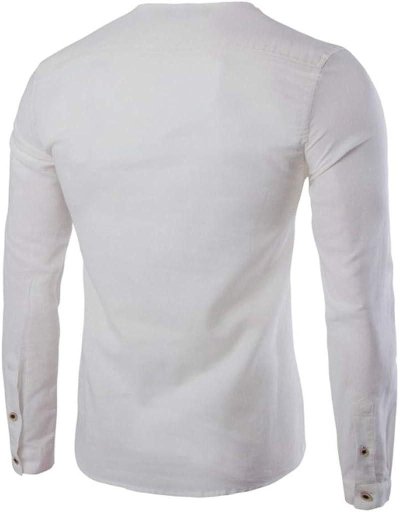 MXJEEIO Liquidación Blusa de Hombre Camisetas de Hombre Abierta de Color sólido Algodón Casual para Hombres del Camisas de Manga Larga para Hombre Polo con Cuello en V de Blusa de Ropa