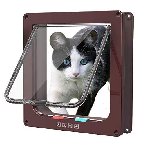 Sailnovo Katzenklappe Hundeklappe 4 Wege Magnet-Verschluss für Katzen, große Hunde 23.5 * 25 * 5.4cm Hundetür Katzentür…