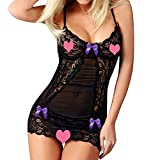 Jeramery Womens Sexy Linegrie for Sex Bow Lace Racy Underwear Spice Suit Babydoll Underwear Chemise Nightgown Purple
