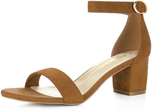 Allegra K HJ1648 1 Women Open Toe Mid Block Heel Ankle Strap