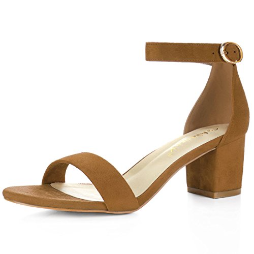 Allegra Open Sandals K Brown Toe Strap Block faux Women Suede Ankle Heel SRSrxHw