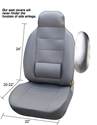 Amazon 125002 Grey Leather Like Car Seat Cover With Lumbar Support For Standard Bucket Compatible To Toyota 4 Runner Avalon Camry Corolla Echo FJ