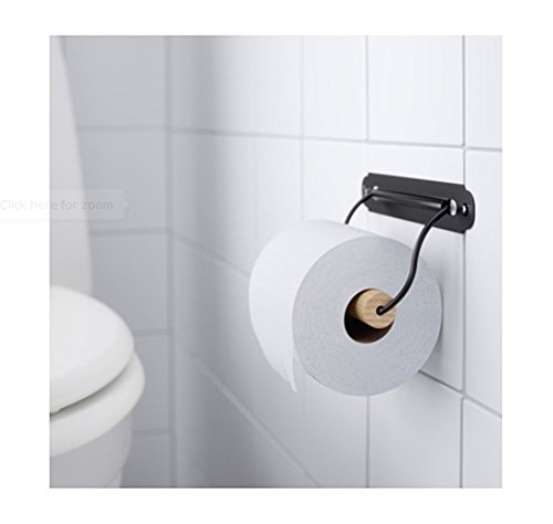 Ikea Toilet Roll Holder Black Metal with Wooden Roller. 7 In