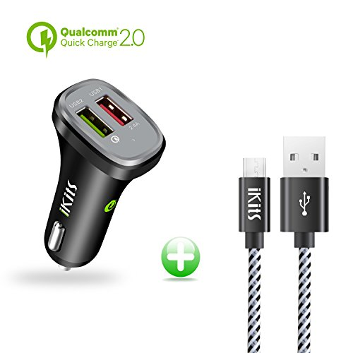 iKits 30W Dual USB Car Charger, Cigarette Charger QC2.0 Port Compatible with Samsung S9+ S8/Edge Note5,LG,HTC.Smart Port 2.4A Compatible iPhoneXr X 8 7Plus 6s, iPad Pro Air Mini + Micro USB Cable 4Ft